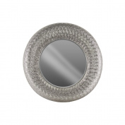 Accent Round Wall Mirror Parquet Pierced Metal Frame-Silver-Benzara