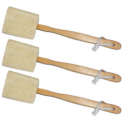 3 Pack Natural Exfoliating Loofah luffa loofa Bath Brush On a Stick - With Long Wooden Handle Back Brush For Men & Women - Shower Sponge Body Back Scrubber