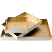 """Set of 3 Stark White and Tan Brown Modern Style Tray Decorative Accent 19.7"""""""