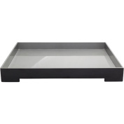 """20.5"""" Black and Metallic Silver Modern Style Tray Decorative Accent"""