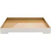 """20.5"""" Stark White and Tan Brown Modern Style Tray Decorative Accent"""