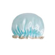 Female Double Layers Waterproof Shower Cap Dust-Proof Oil-Proof Bath Hat, Blue