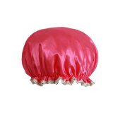 Female Double Layers Waterproof Shower Cap Dust-Proof Oil-Proof Bath Hat, Red