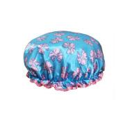 Female Double Layers Waterproof Shower Cap Dust-Proof Oil-Proof Bath Hat, Bowknot, Blue