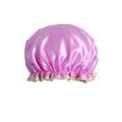 Female Double Layers Waterproof Shower Cap Dust-Proof Oil-Proof Bath Hat, Purple