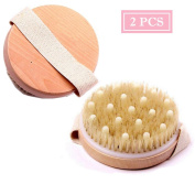 1 PCS Bath Body Brushes - Round Wooden Natural Bristle Dry Wet Shower Brush for Dry Skin Brushing, Shower and Bath, an Essential for Cellulite Reduction, Skin Exfoliation