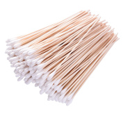 Hicarer 500 Pieces 15cm Swabs Cotton Stick Cotton Tipped Applicator Single Tip with Wooden Handle