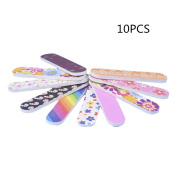 ForUBeauty Professional Nail Files Curved Arcuate Colourful Sponge Nail Buffering File 10PCS