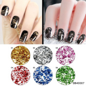 QIMYAR Gold Silver Glitter Aluminium Flakes Acrylic Nail Sequins Magic Mirror Effect Chrome Pigment Decorations 6 Colours