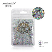 QIMYAR Nail Art Tips Laser Sequins Glitter Sparkles Colourful Round Shape Nails 1.2mm Decoration 5g/pack