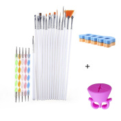 ForUBeauty Nail Art Gel and Acrylic Brushes 15PCS A Set with Dotting Tools 5PCS