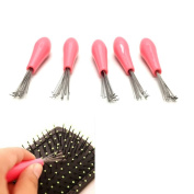 HUELE 5PCS Mini Cabinet Tool Comb Hair Brush Cleaner Embeded Tool Salon Home Pick Plastic Handle