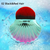 JaneDream Shell Large Makeup Brush Foundation Concealer Powder Blush BB Cream Brush Colourful Red