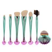 JaneDream 7Pcs Shell Makeup Brushes Eyeshadow Eyebrow Lip Brush Set Dream Green Red Gradient White Hair