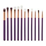 Coerni 12pcs/Set Premium Eyebrow Eyeshadow Wool Brush with Wood Handle
