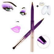 MYSWEETY Fashion Gradient Colour Retractable Lip Brush Eyeshadow Brush With Cap Concealer Brush Makeup Brush Tool + 2Pcs Silicone Makeup Sponge