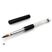 NMKL Oval Kolinsky Sable Hair Acrylic Nail Brush Clear Rhinestones Handle Nail Art Tool