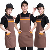 H - Type Straps Cotton Aprons Catering Waiter Work Clothes Apron Embroidery Home Kitchen Aprons,A