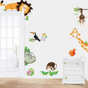 HLHN Jungle Animal Kids Baby Nursery Child Wallpaper Household Home Wall Sticker Poster Mural Decoration for Bedroom Livingroom Bathroom Kitchen Window Glass