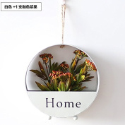 XMJR Wall decoration American retro iron wall Flower wall decoration hanging flower pots flower racks creative wall decoration hanging flower, iron white +1 support coffee-coloured berries