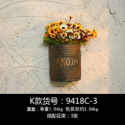 XMJR Wall decoration Sepia creative flowerpots mural wall decoration cafe shops wall decorations wall mount home wall wall hangings,__LW_NL__YELLOW small daisies cement plant