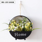 XMJR Wall decoration American retro iron wall Flower wall decoration hanging flower pots flower racks creative wall decoration hanging flower, +2 black iron 1 Wong white forget-me-not