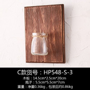 XMJR Wall decoration Creative plant wall hanging glass vases Pui-bedroom living room water wall wooden panels on the wall hangings and wall hangings, brown wooden panels single bottle