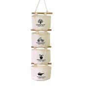 Souarts 3 Bags Creamy White Linen Fabric Over Wall Door Closet Waterproof Hanging Storage Pocket Organiser
