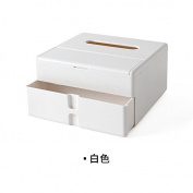 Multifunctional tissue box Living room desktop storage box extraction carton napkin box cotton swabs storage box, white