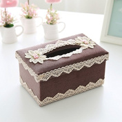 Paper towel box drawer fabric lace home bedroom tissue box, reddish-brown