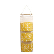 display08 3 Pockets Wall Door Closet Home Hanging Storage Bag Linen Fabric Organiser Pouch