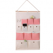 KINDOYO Linen/Cotton Fabric 12 Pockets Wall Door Closet Hanging Storage bag organiser, Red