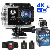 Meerveil T800 4K Action Camera Sport Camera WiFi Ultra HD Waterproof Camera Camcoder with 16MP Sony Sensor,170 Degree Wide Angle - 2 Pcs Batteries ,2.4 GHz Remote, Accessory Kits