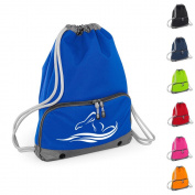Good Quality Gym Bags - Swimming Motif Design - Swim Bag - Drawstring Backpacks - Waterproof - Strong stitching and thick cords - Handy zipped wet pocket and shoe compartment - Suitable for Adults and Kids, Holiday, Swimming.