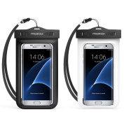Universal Waterproof Case, MoKo [2-Pack] Cellphone Dry Bag Pouch with Armband Neck Strap for iPhone 7 Plus, 6S Plus, 7, 6S, 6, 5S, Samsung S8 Plus, S8, S7 Edge, S6 S5 S4, J7, Note 5 4, BLACK + WHITE