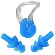 Vivo © Kids/Adults Swimming Blue Ear Plugs & Nose Clip Sea Ocean Beach Learning Swim