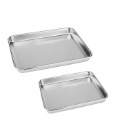 Neeshow Stainless Steel Compact Toaster Oven Pan Tray Ovenware Professional, Heavy Duty & Healthy, Deep Edge, Superior Mirror Finish, Dishwasher Safe,Set of 2