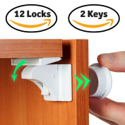 Baby Proof Magnetic Cabinet Door & Drawer Safety Locks - 12 Latches & 2 Keys - No Drilling, Easy to Instal - Ideal for Baby Proofing Your Kitchen – Reliable Child Safety Cabinet Locks & by BabyTrust