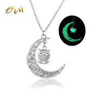 Onairmall Luminous Series Owl Moon Necklace Fluorescent Necklace,Glow in the Dark