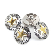 4 Premium 2.5cm - 0.3cm Silver Engraved Gold Star Concho W/ 0.6cm Screw Back