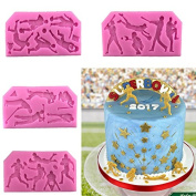 Fondant Mould of Baseball,Rugby, Golf, Basketball Stuly,4 Pcs Cake Topper Decoration Tools Chocolate Polymer Clay Candy Gumpaste Sugar Craft Mould