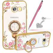 Galaxy J5 Prime Case,ikasus Pink Butterfly Flower Glitter Bling Crystal Rhinestone Diamond Clear Rubber Plating Kickstand Soft TPU Bumper Cover Case +Touch Pen Dust Plug for Galaxy J5 Prime,Gold