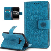 Galaxy J1 2016 Case,Amp 2 Case,Express 3 Case,ikasus Embossing Mandala Flower Sunflower PU Leather Magnetic Flip Folio Kickstand Wallet Case with Card Slot Case for Galaxy J1 2016/Amp 2/Express 3,Blue
