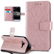 Galaxy J3 Case,Galaxy Express Prime Case,Galaxy Sky/Sol/Amp Prime,ikasus Embossing Mandala Flower Sunflower PU Leather Flip Folio Kickstand Wallet Case with Card Slot Case for Galaxy J3/J3 V,Rose Gold