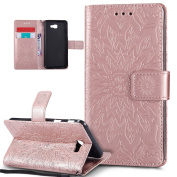 Galaxy J5 Prime Case,Galaxy J5 Prime Cover,ikasus Embossing Mandala Flowers Sunflower PU Leather Magnetic Flip Folio Kickstand Wallet Case with Card Slots Case Cover for Galaxy J5 Prime,Rose Gold