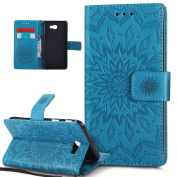 Galaxy J5 Prime Case,Galaxy J5 Prime Cover,ikasus Embossing Mandala Flowers Sunflower PU Leather Magnetic Flip Folio Kickstand Wallet Case with Card Slot Protective Case Cover for Galaxy J5 Prime,Blue