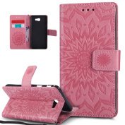 Galaxy J5 Prime Case,Galaxy J5 Prime Cover,ikasus Embossing Mandala Flowers Sunflower PU Leather Magnetic Flip Folio Kickstand Wallet Case with Card Slot Protective Case Cover for Galaxy J5 Prime,Pink