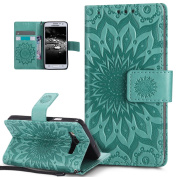 Galaxy A3 Case,Galaxy A3 Cover,ikasus Embossing Mandala Flowers Sunflower PU Leather Magnetic Flip Folio Kickstand Wallet Case with Card Slots Case Cover for Galaxy A3 (2014) SM-A300F (11cm ),Green