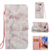 Galaxy S6 Case, Firefish Marble [3D Painting] [Card Slots] Slim-fit Premium PU Leather With Back Panel Cover Scratch Protective Flip Folio Shell for Samsung Galaxy S6