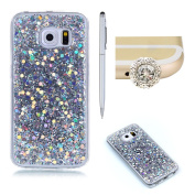 Case for Galaxy S6 Edge,SKYXD Glitter Ultra Thin Brilliant Soft Flexible Lightweight Gel Case Luxury Shiny Bling Slim Thin Skin Cover for Samsung Galaxy S6 Edge Rubber Shockproof Bumper Shell,Silver